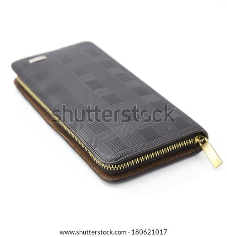 Black leather wallet with zipper.