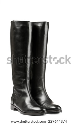 Black leather winter boots isolated on white background - stock photo