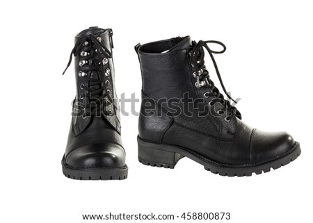 black leather winter  shoes isolated on white