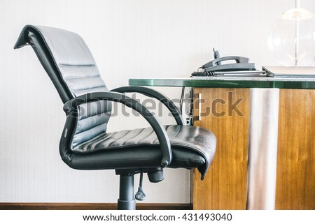 Black Leather working chair decoration interior of working area - Vintage light Filter