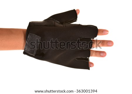 Black Leather Workout Gloves  - stock photo