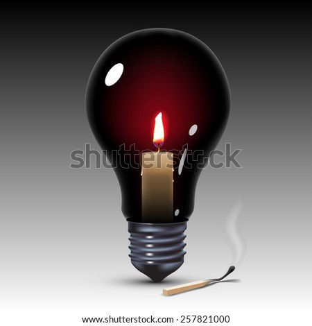 black light bulb with candle inside - stock photo