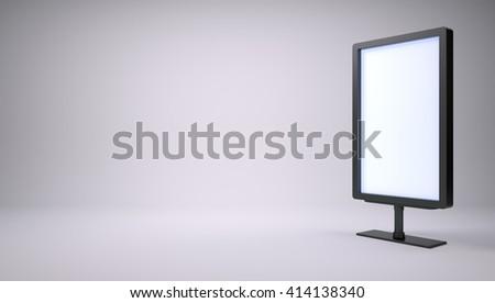 Black lightbox in empty studio. Right side. Gray gradient background. 3D rendering - stock photo