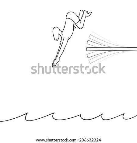Black line art illustration of a man diving off a diving board into the water. - stock photo