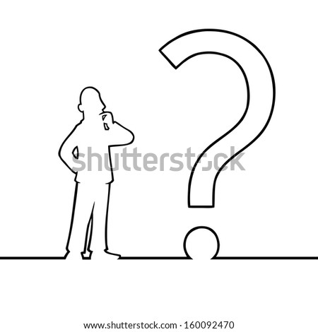 Black line art illustration of a man looking at a question mark. - stock photo