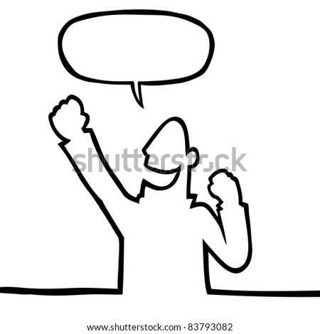 Black line art illustration of a person cheering. - stock photo