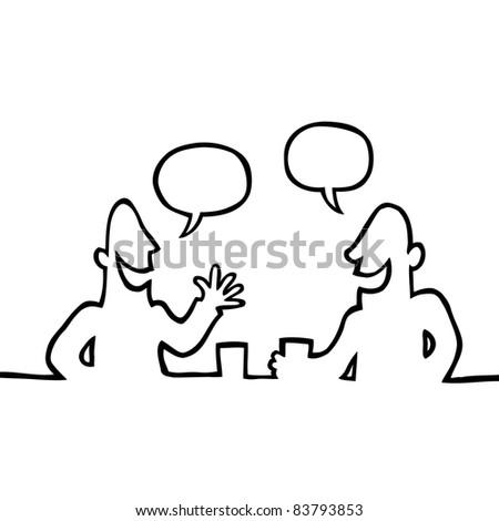 Black line art illustration of two people having a conversation. - stock photo