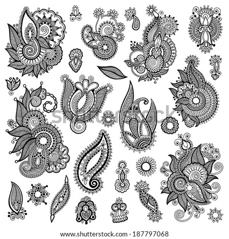 black line art ornate flower design collection, ukrainian ethnic style, autotrace of hand drawing, raster version - stock photo