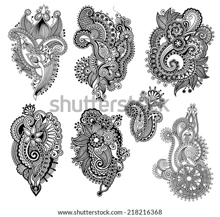 black line art ornate flower design collection, ukrainian ethnic style, hand drawing, raster version - stock photo