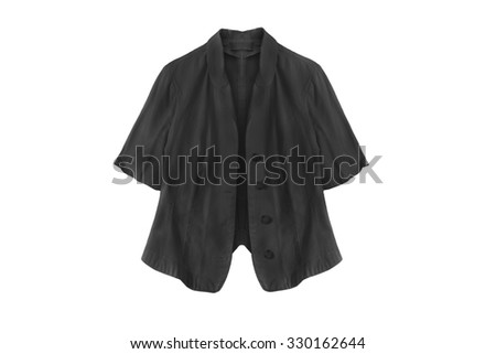 Black linen jacket with short sleeves on white background