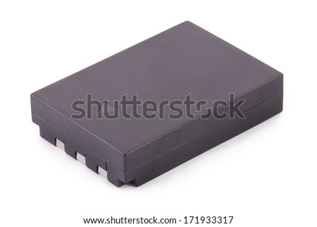 Black lithium-ion battery pack on white. Clipping path included.