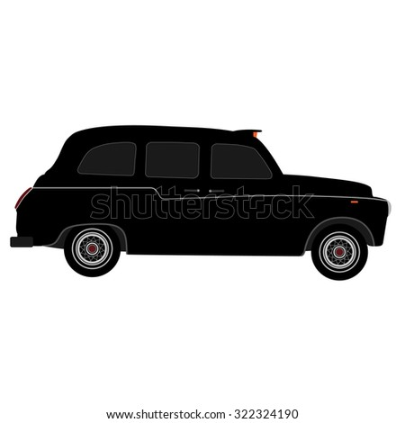 Black London taxi raster isolated, black cab