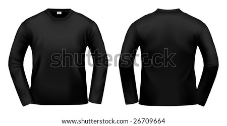 Black long-sleeved T-shirt design template (clipping path). - stock photo