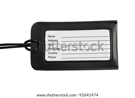 Black Luggage tag isolated on white background - stock photo