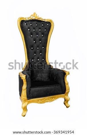 Black luxurious sofa on  white background - stock photo