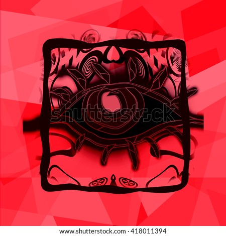 Black magic eye on red abstract background - stock photo