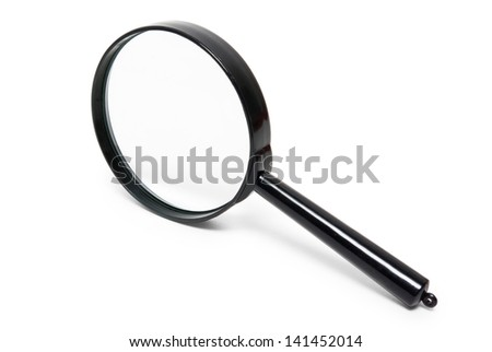 black magnifying glass isolated on white background