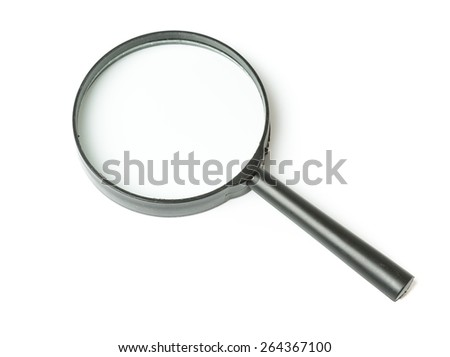 Black Magnifying glass isolated on white background - stock photo