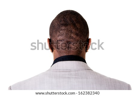 Black male head, back view. Isolated on white.  - stock photo