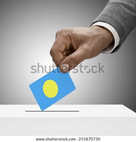 Black male holding flag. Voting concept - Palau - stock photo