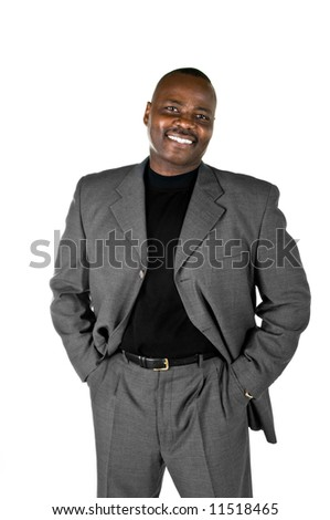 Black male model in suit on white background