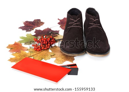 Black male shoes isolated on white background. Autumn theme