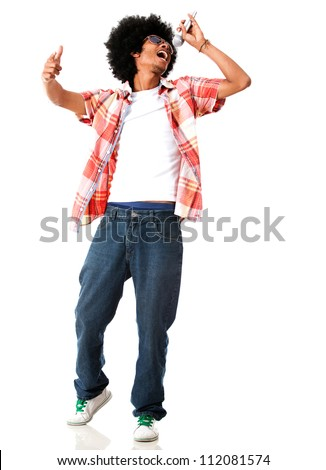 Black male singer - isolated over a white background - stock photo