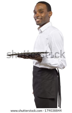black male waiter carrying a blank tray for composites - stock photo