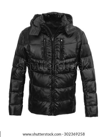 Black male winter jacket isolated on white background - stock photo