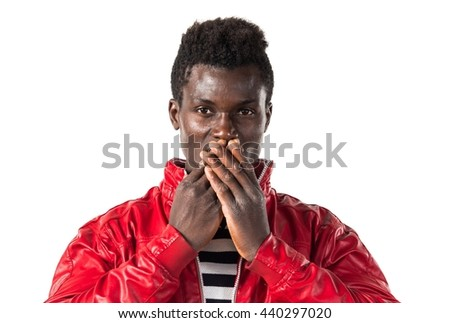 Black man covering his mouth - stock photo