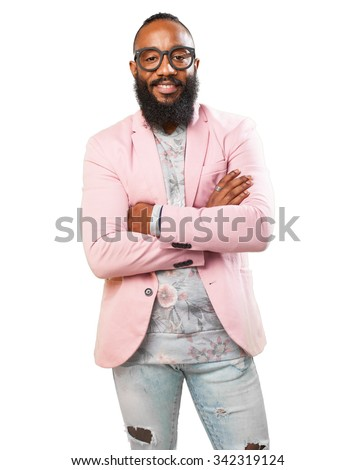 black man crossing arms - stock photo