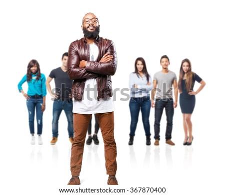 black man crossing arms - stock photo