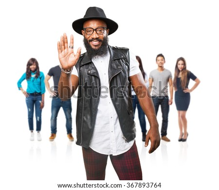 black man doing a stop gesture - stock photo