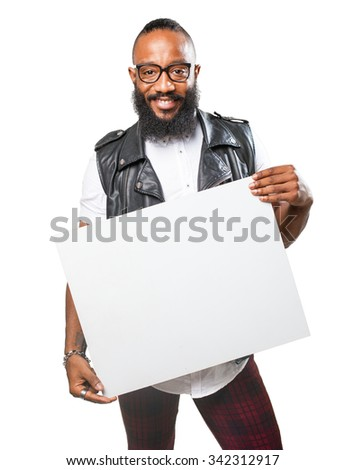 black man holding a banner