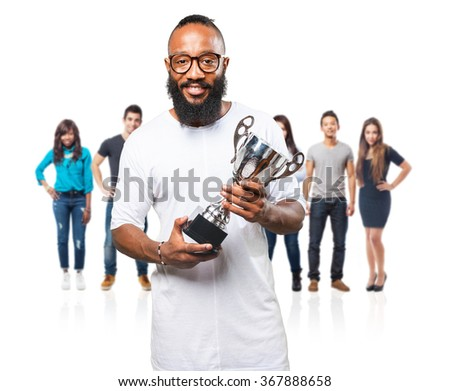 black man holding a trophy - stock photo