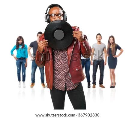 black man holding a vinyl - stock photo