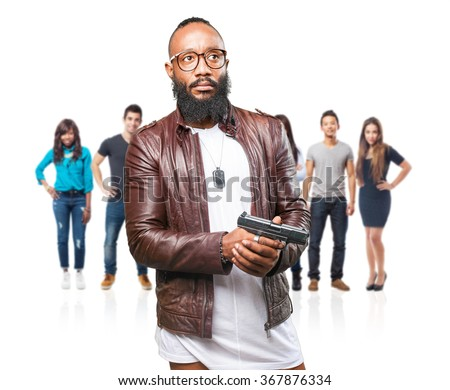 black man holding a weapon - stock photo