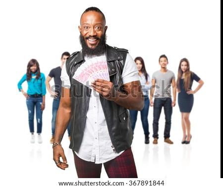 black man holding bills - stock photo