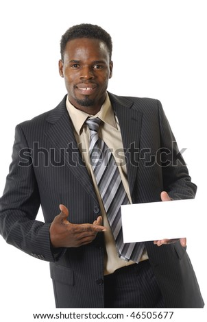 black man in costume with a panel - stock photo