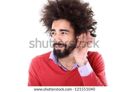 Black man listening - stock photo