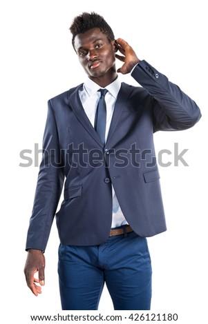 Black man listening something - stock photo