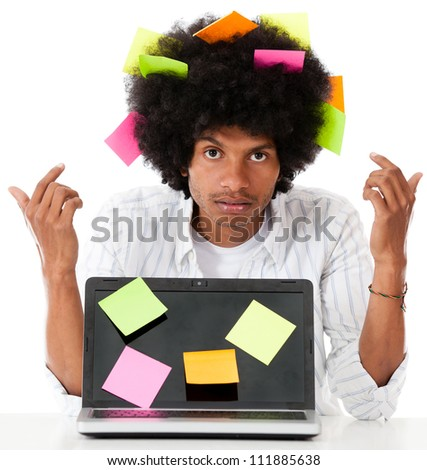 Black man multitasking with post it notes - isolated over a white background - stock photo