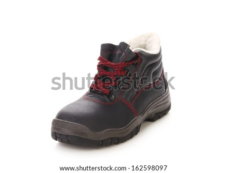 Black man's boot with red lace. Isolated on white background.
