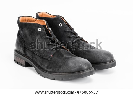 Black man shoes isolated on white background