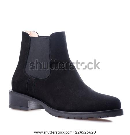 Black man suede shoe isolated on white background.  - stock photo