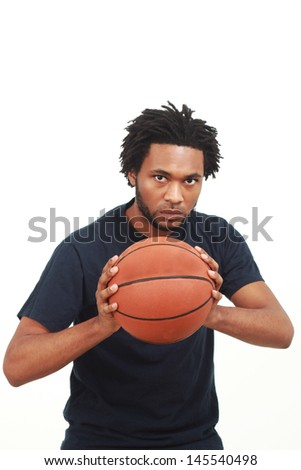 Black man with a basketball