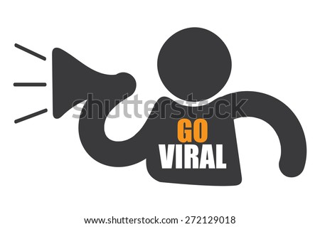 Black Man With Megaphone and Go Viral Sign, Icon or Label Isolated on White Background - stock photo