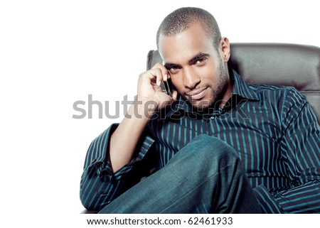 Black man with mobile phone - stock photo