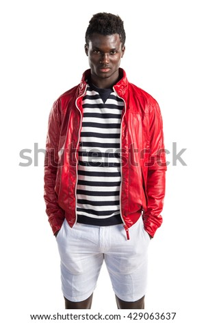 Black man with red leather jacket