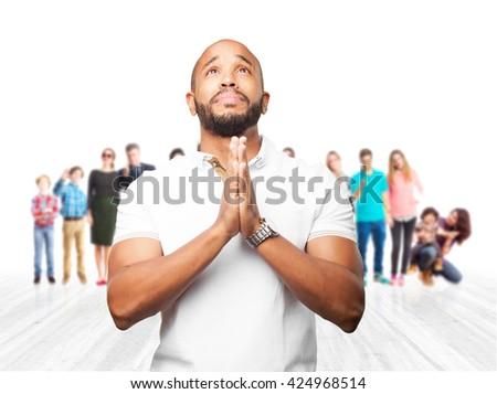 black man worried expression - stock photo